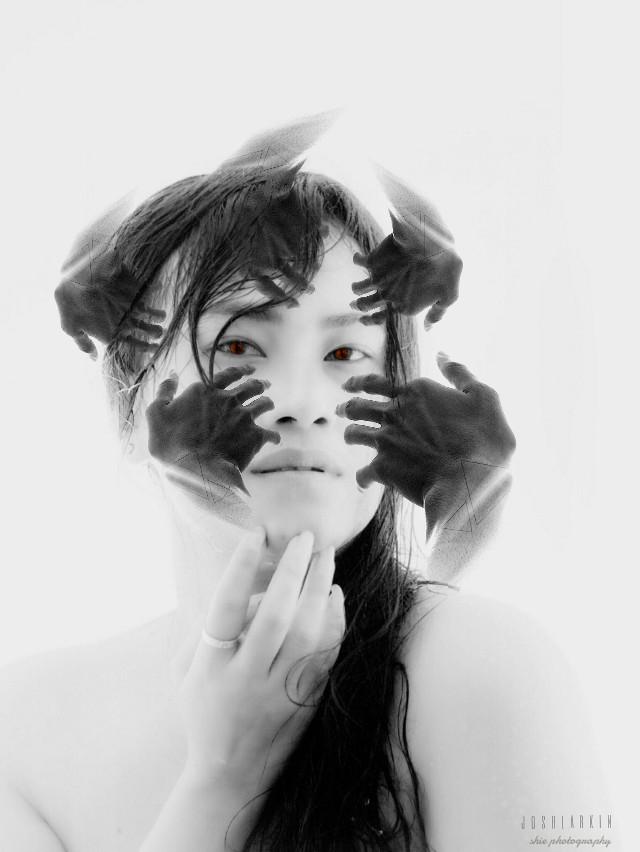 #freetoedit by @shie384 @onkarkumar  #blackandwhite #interesting #art #face #illusion #emotions #cute #girl #portrait #sepia