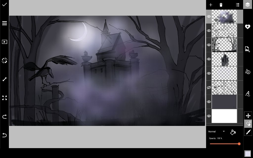 draw moon and fog  for spooky halloween