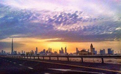 roadtrip road dubai sunset sky