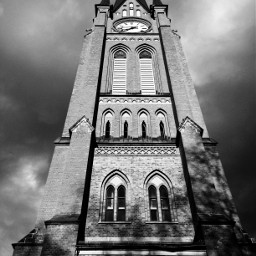 blackandwhite black church buildings storm