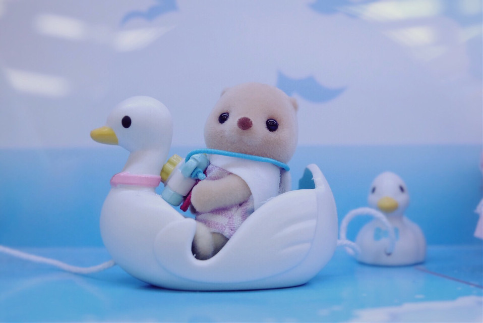 #toy #animal #cute #blue #duck