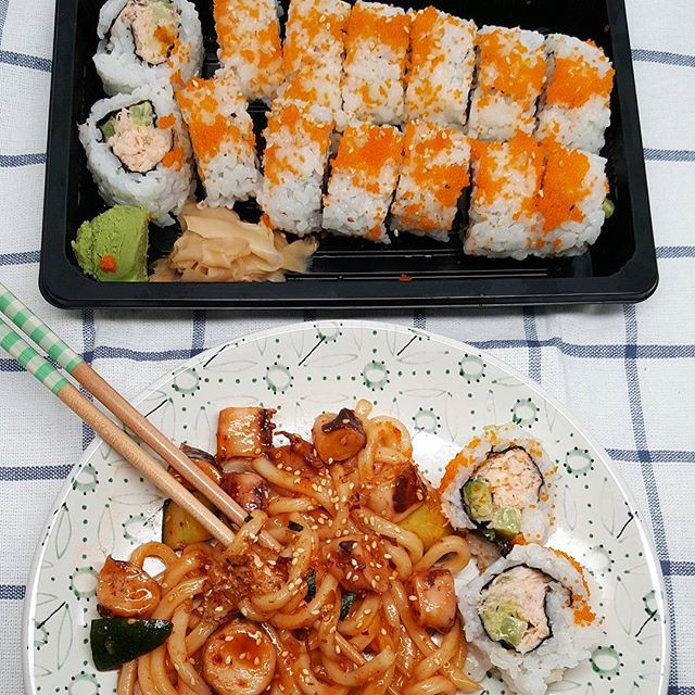 My cravings today... spicy octopus udon + CA roll! 😗