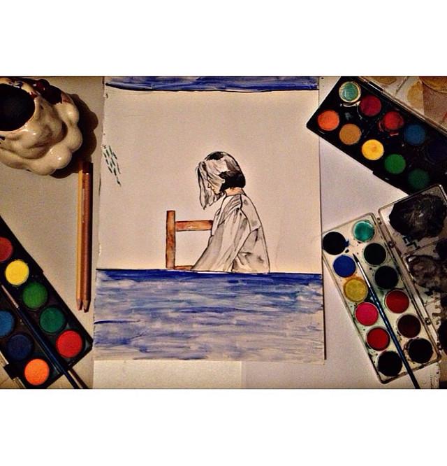 #art #watercolor #beautiful #happy #she #black #white #blackandwhite #green #blue #orange #yellow #red #follow #followme #izmit #çenesuyu #night #music #nature #sky #photography