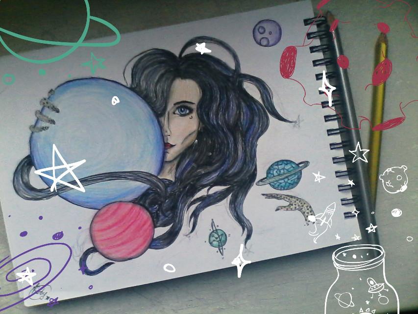 #myart;#space;#girl:#planets;#galactic