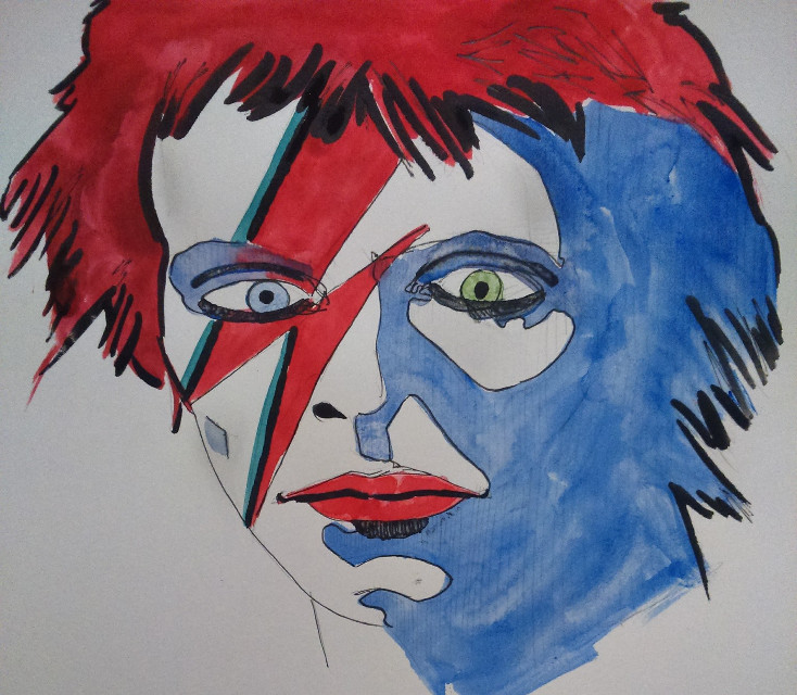 Bowie...  #watercolour #pencil #ink #drawing #Bowie