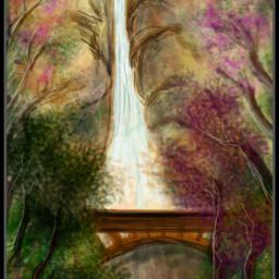 Wdptreeline waterfall colourful digitaldrawing bridge trees 100