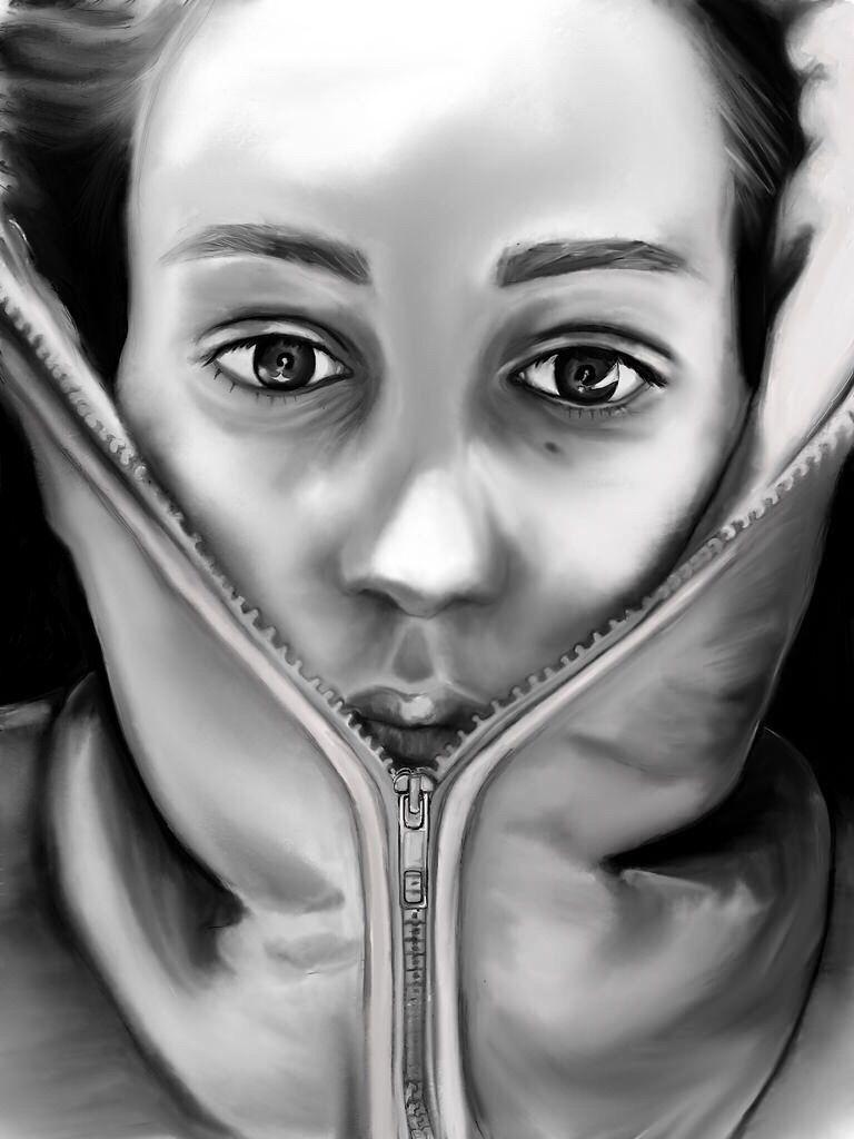 Society6.com/meakm #coldoutside #drawing #art #portrait #meakm #digitalart #2d #blackandwhite