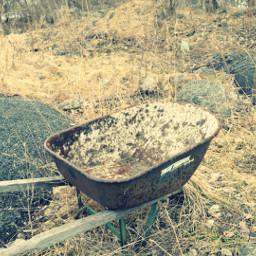 crossprocess wheelbarrow interesting nature abandoned