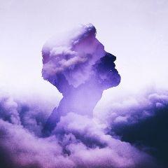 doubleexposure clouds purple people brightbackground