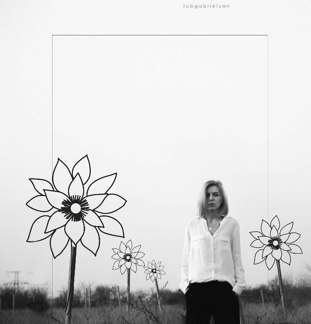 Original photo by @rubgabrielyan  #flowerdoodles #blackandwhite #photography #freetoedit #artistic #people  #myedit
