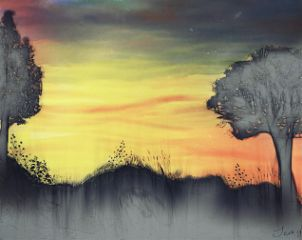 nature spring sunset drawing colorful