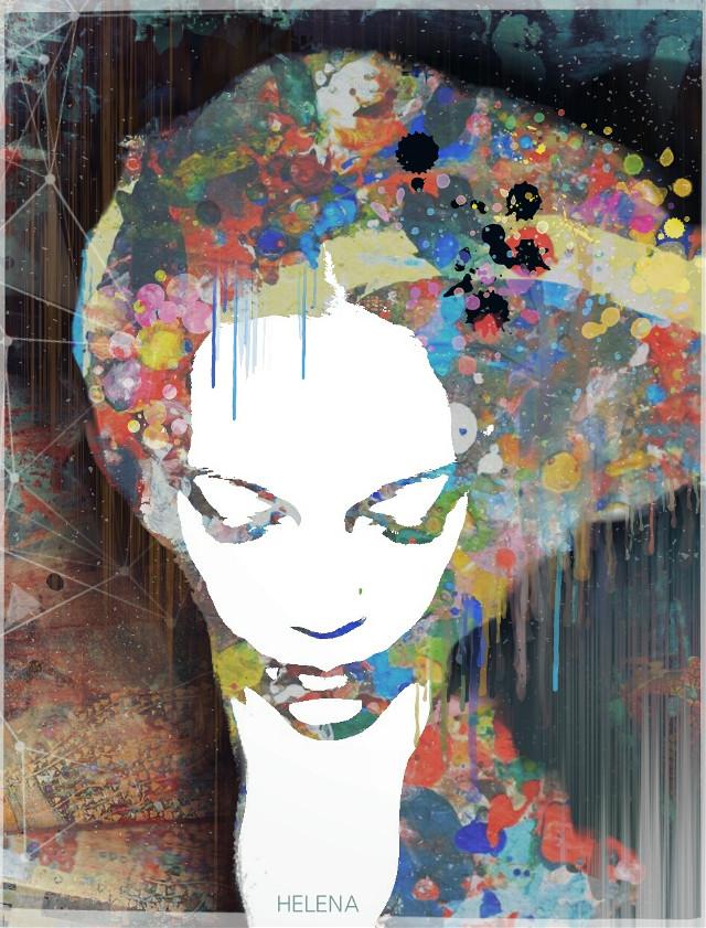 Painted lady #retro #artistic #edited #artisticselfie #colorful #paintsplatters #popart #highcontrast
