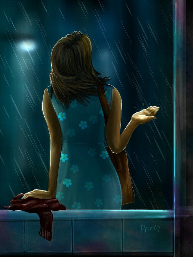 #WDPrainyday (100% drawn using draw tools) Tutorials coming soon. If you like my drawing plz do Vote for it. #digitaldrawing #drawing #art #colorful #rain #woman #season #wet #light