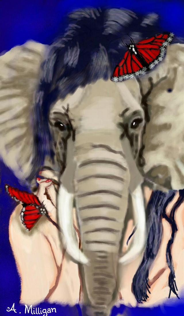 #wapanimalfaces #colorsplash #colorful #people #petsandanimals  #girl  # elephant  #edit  #fun  #draw.😊 ❤ 💚