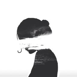 silhouettestencil girl sky clouds sea freetoedit