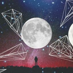 edit moon sky triangles artistic