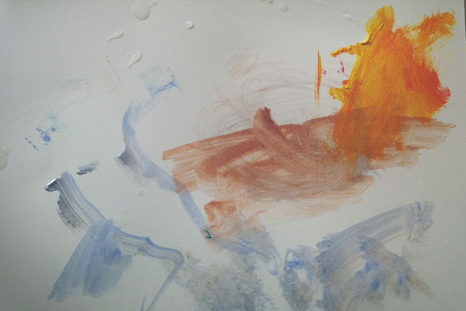 Bit of abstract art by my 5 year old son. Love it reminds me of the sea, mountains and Sun.